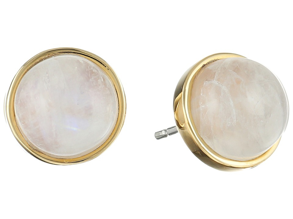 Elizabeth and James - Cabachon Moonstone Set Earrings (Yellow Gold) Earring