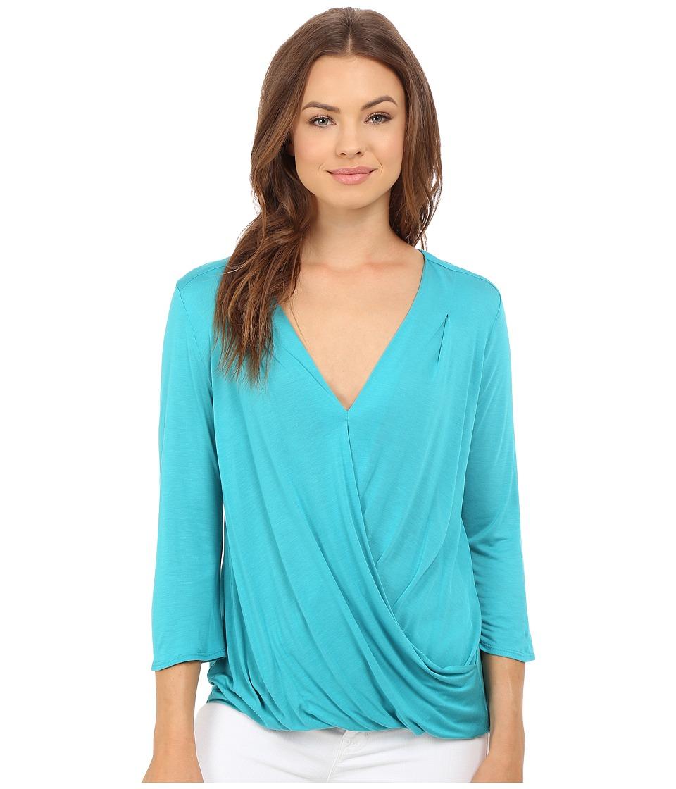 Lanston - Surplice 3/4 Sleeve Top (Bahamas) Women's Blouse