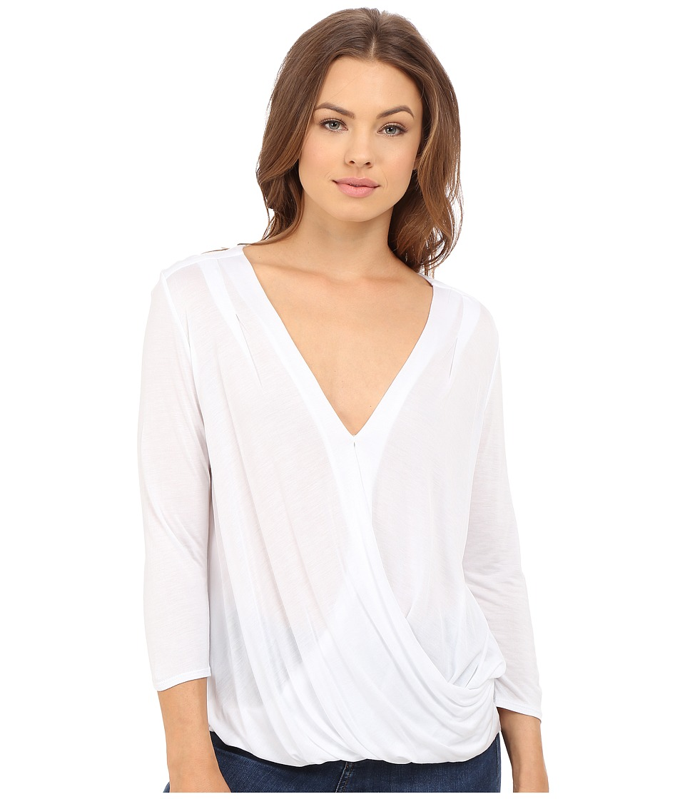 Lanston - Surplice 3/4 Sleeve Top (White) Women's Blouse