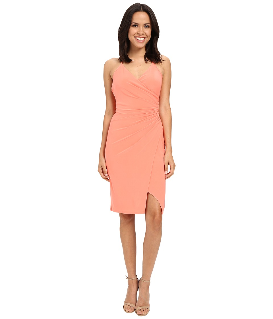 Laundry by Shelli Segal - Wrap Jersey Dress with Side Shirring (Fresh Salmon) Women's Dress