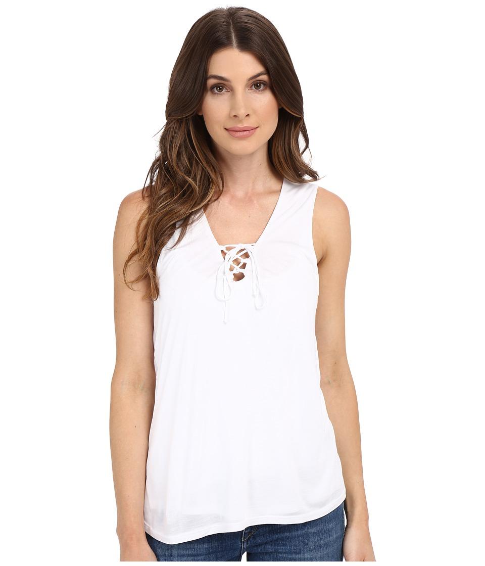 Lanston - Lace-Up Tank Top (White) Women's Sleeveless