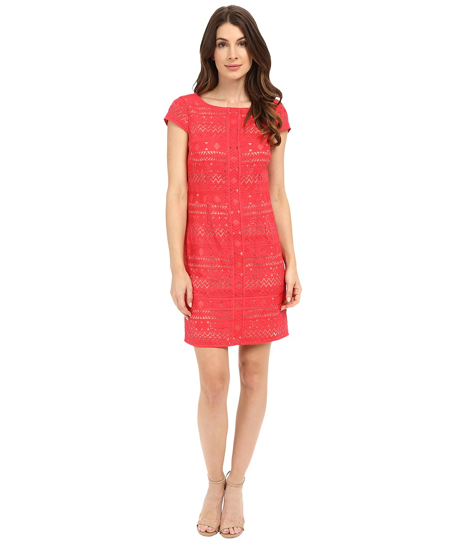 Laundry by Shelli Segal - Texcoco Embroidered T-Body Dress with Lace Detail (Coral Rage) Women's Dress