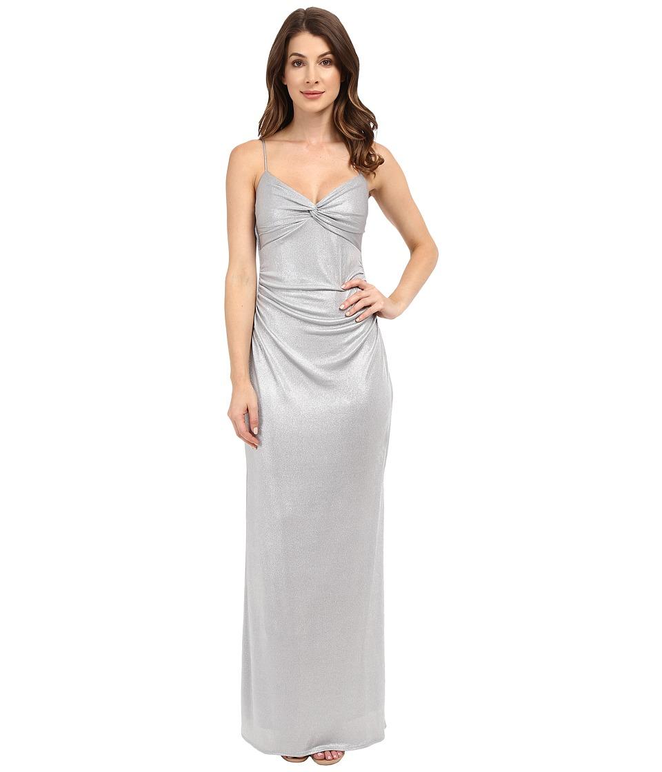 Laundry by Shelli Segal Twist Front Metallic Dress (Chrome) Women