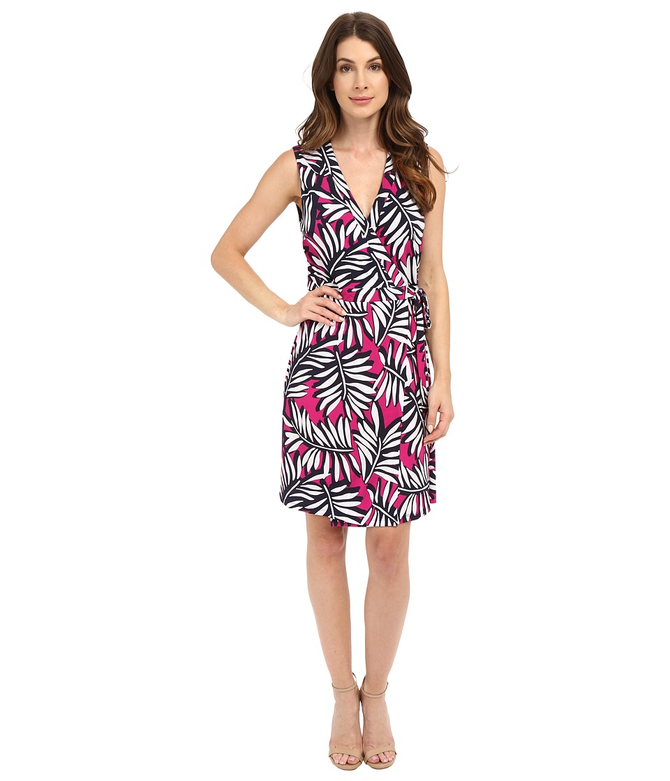 Laundry by Shelli Segal Palm Reader Sleeveless Wrap Dress (Electric Pink) Women