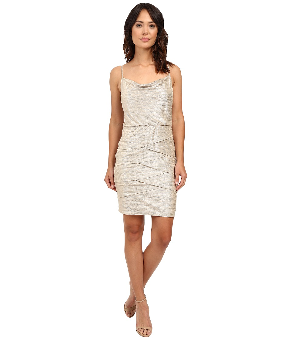 Laundry by Shelli Segal Ruckle Metallic Draped Front/Blouson Tiered Dress (Gold) Women