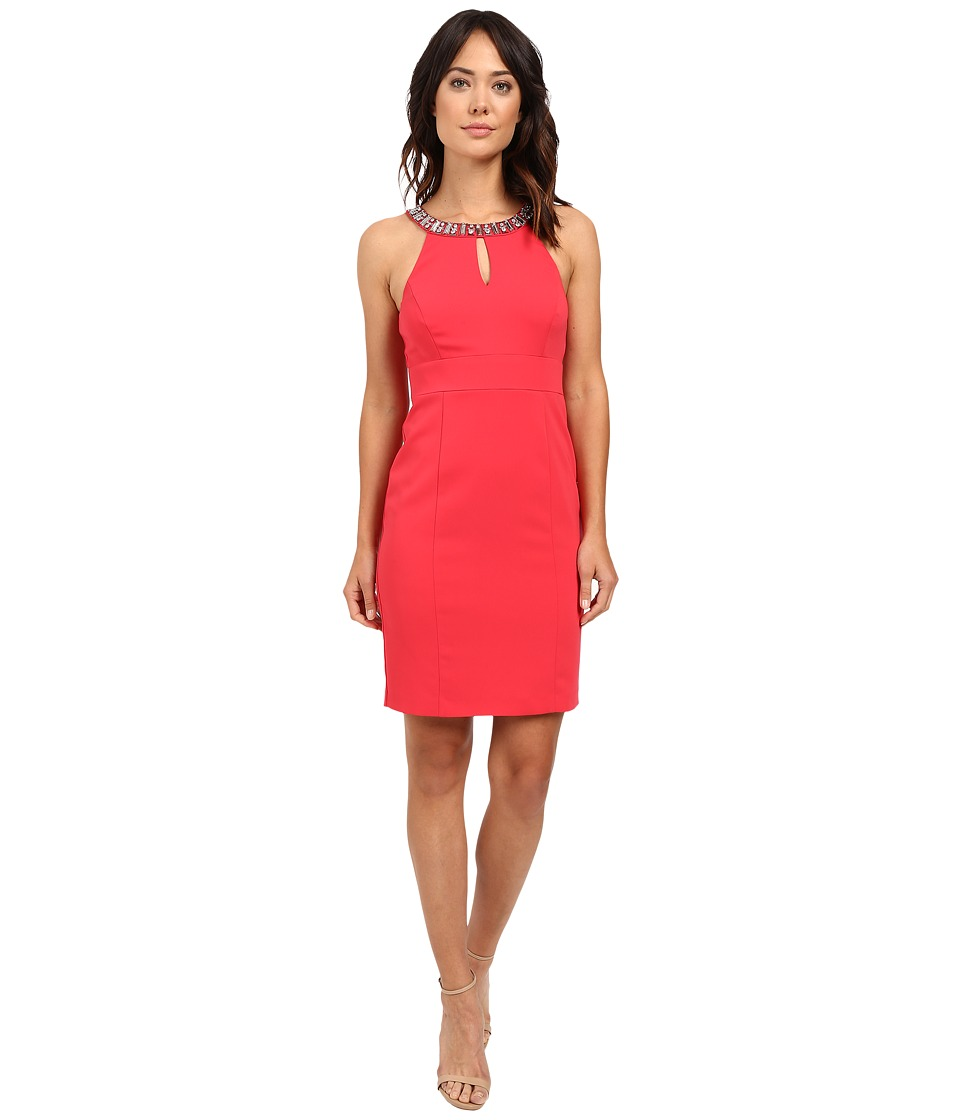 Laundry by Shelli Segal - Montreal Stretch Embellished Neck Cutaway Cocktail Dress (Coral Rage) Women's Dress