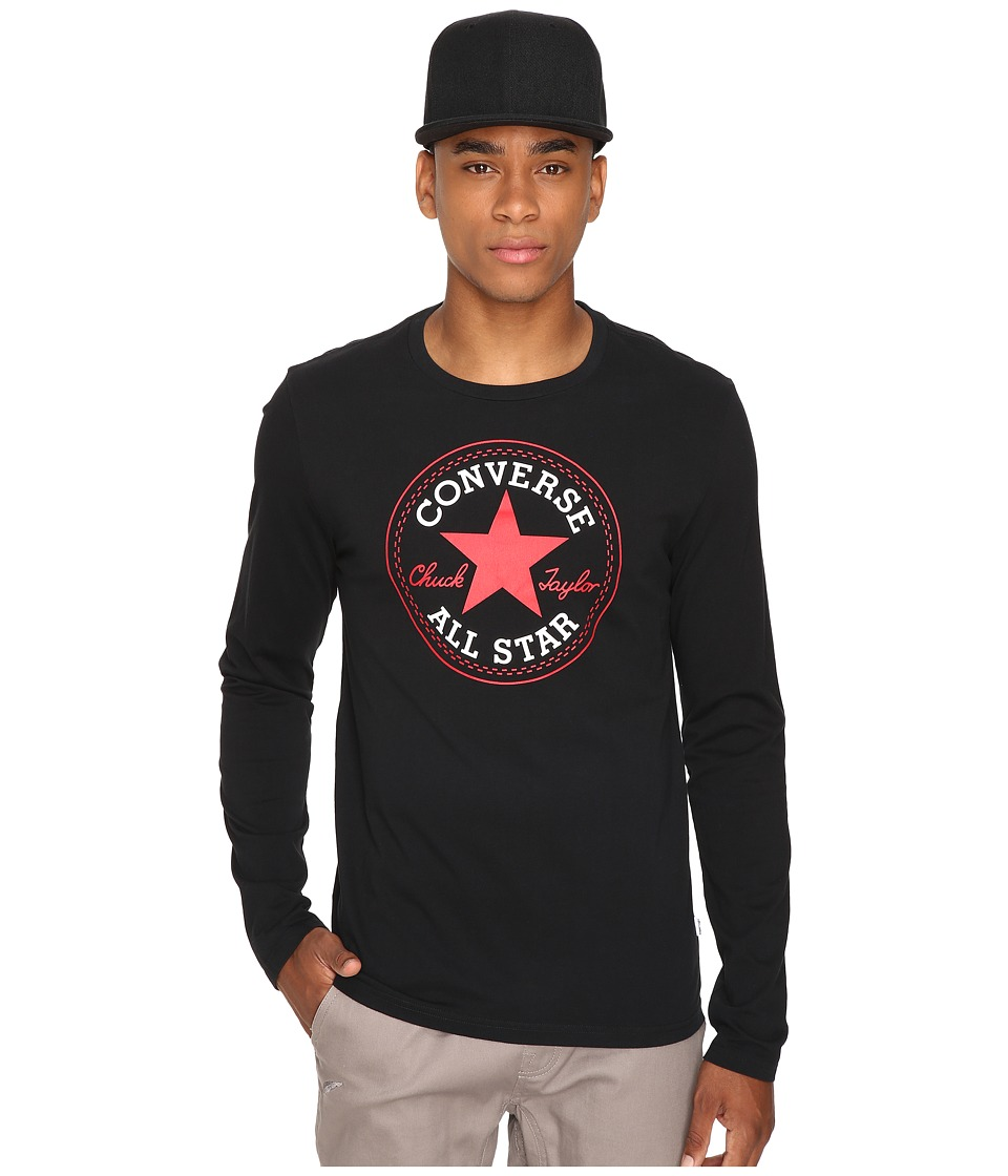 Converse - Core Long Sleeve Core Patch Tee (Black) Men's T Shirt