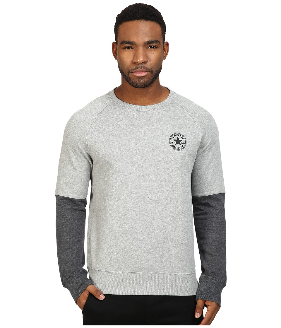 Converse - Color Block Crew (Vintage Grey Heather) Men's Clothing