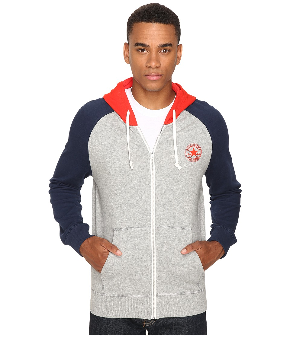 Converse - Color Block Full Zip Hoodie (Vintage Grey Heather) Men's Sweatshirt