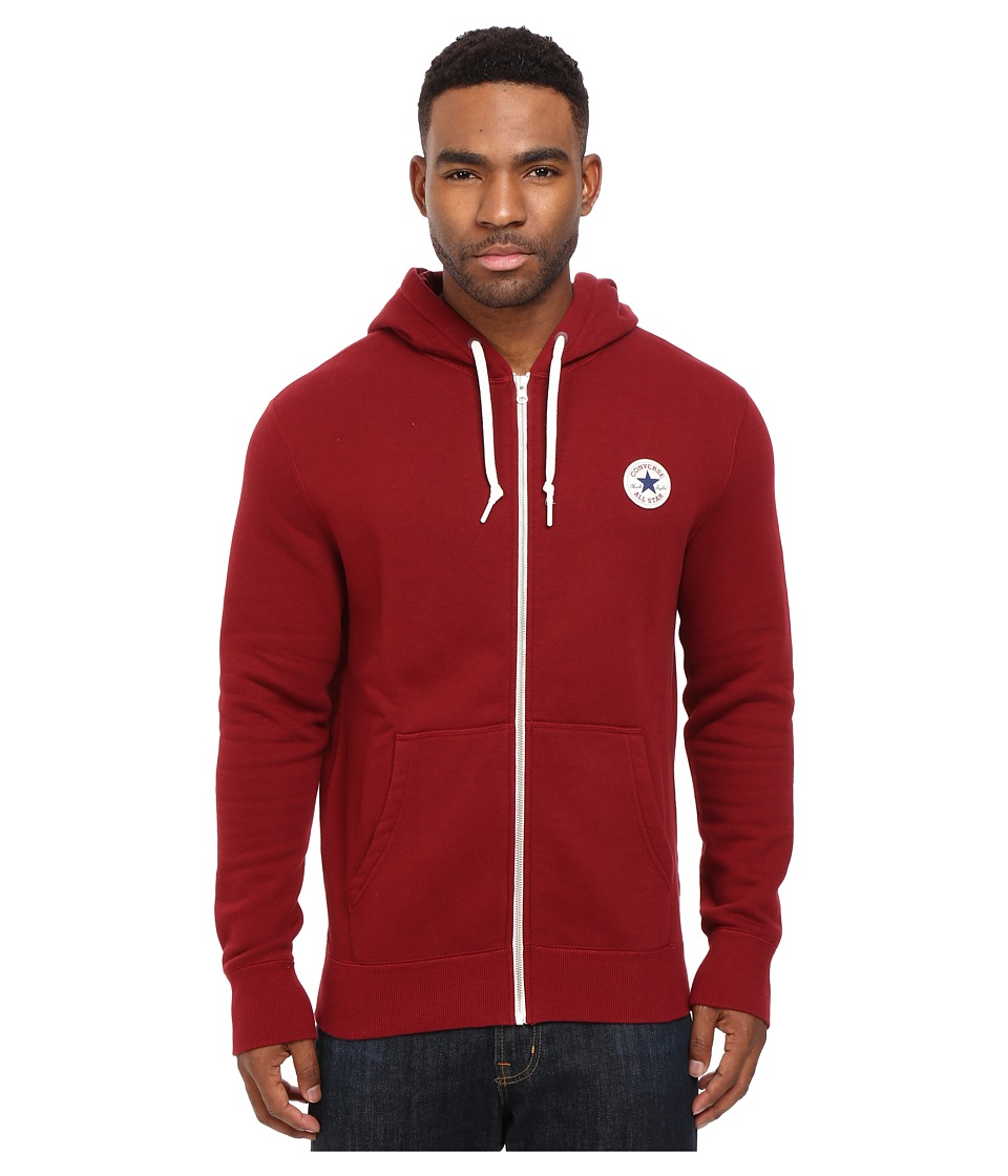 Converse - Core Full Zip Hoodie (Red Block) Men's Sweatshirt