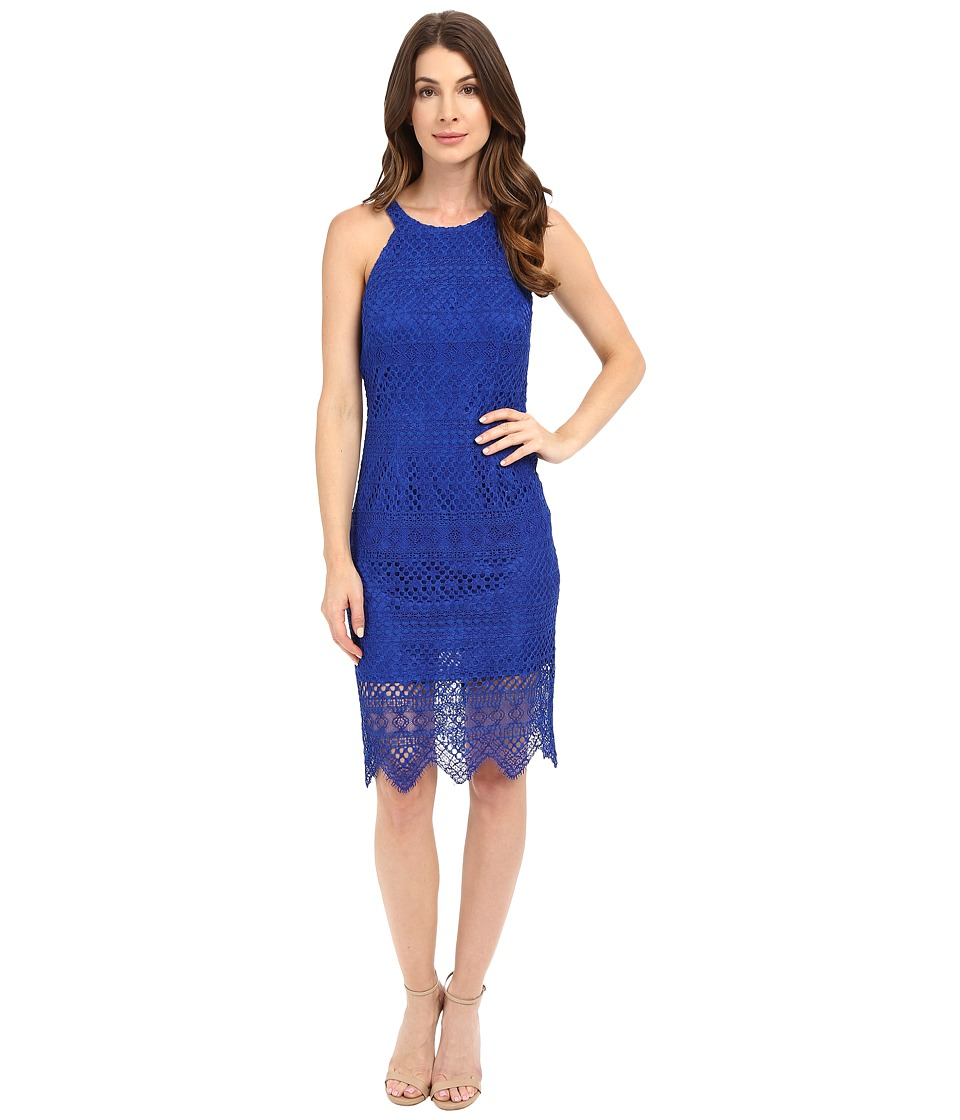 Laundry by Shelli Segal - Salem Stripe Lace Cutaway Short Dress with Scalloped Hem (Vibrant Blue) Women's Dress