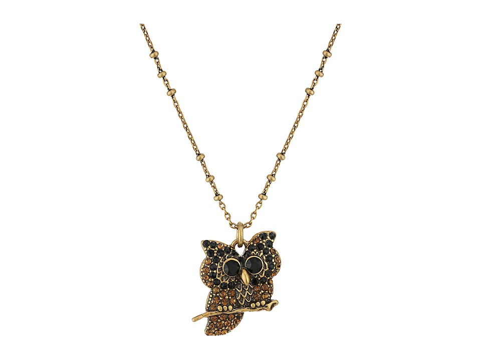Marc Jacobs - Charms Owl Pendant Necklace (Jet Multi/Antique Gold) Necklace