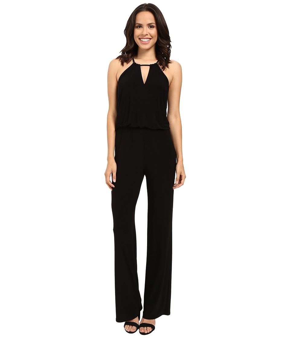 Laundry by Shelli Segal - Matte Jersey Solid Halter Jumpsuit with Metal Details (Black) Women's Jumpsuit & Rompers One Piece