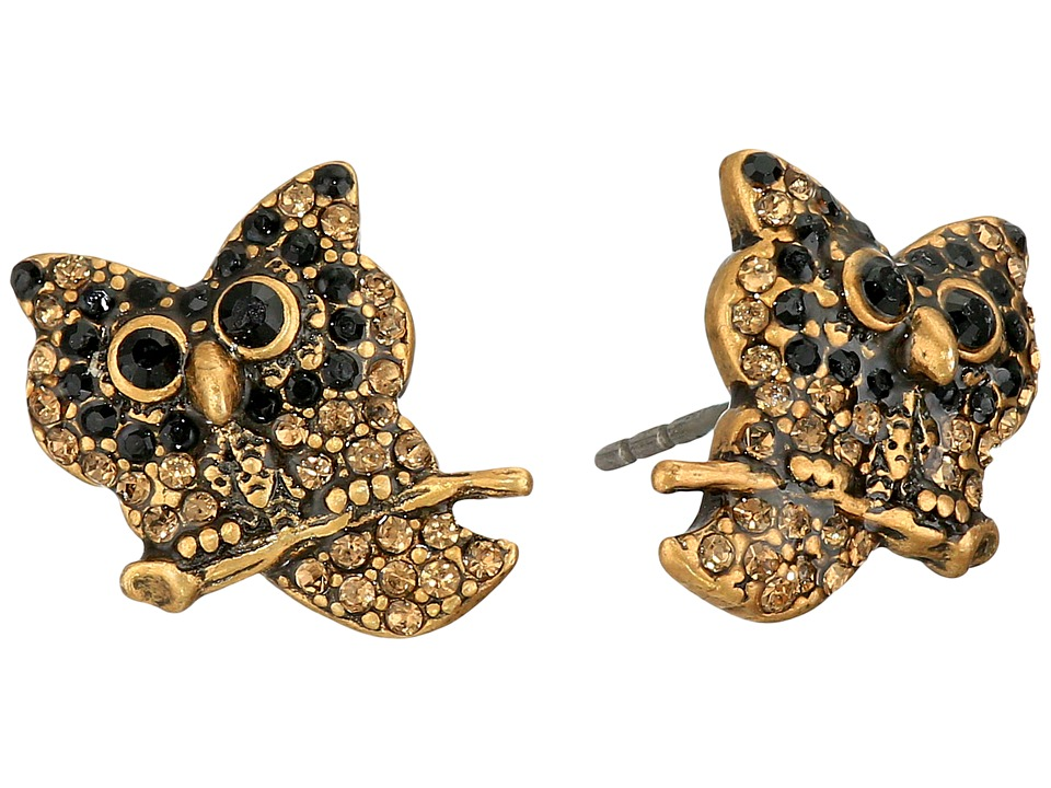 Marc Jacobs - Charms Owl Studs Earrings (Jet Multi/Antique Gold) Earring
