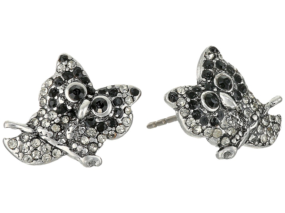 Marc Jacobs - Charms Owl Studs Earrings (Jet Multi/Antique Silver) Earring