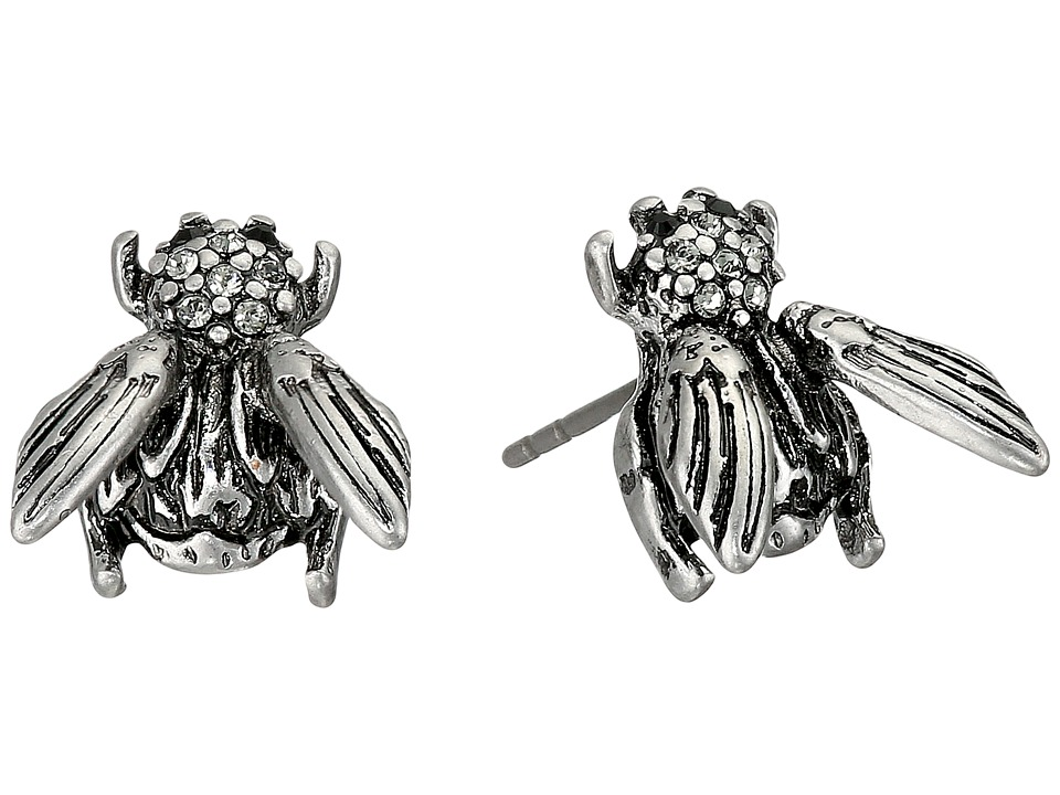 Marc Jacobs - Charms Beetle Studs Earrings (Antique Silver) Earring
