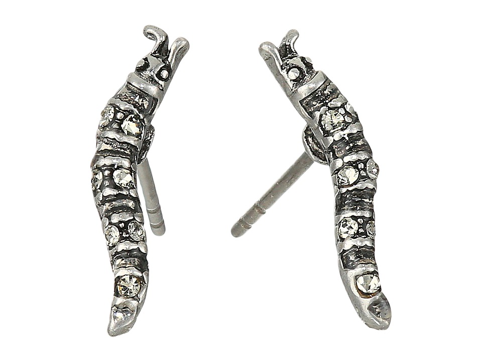 Marc Jacobs - Charms Caterpillar Studs Earrings (Antique Silver) Earring