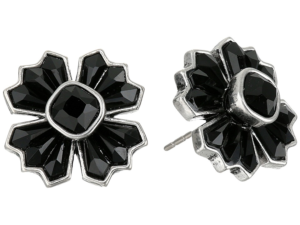 Marc Jacobs - Jet Night Cross Studs Earrings (Jet/Antique Silver) Earring