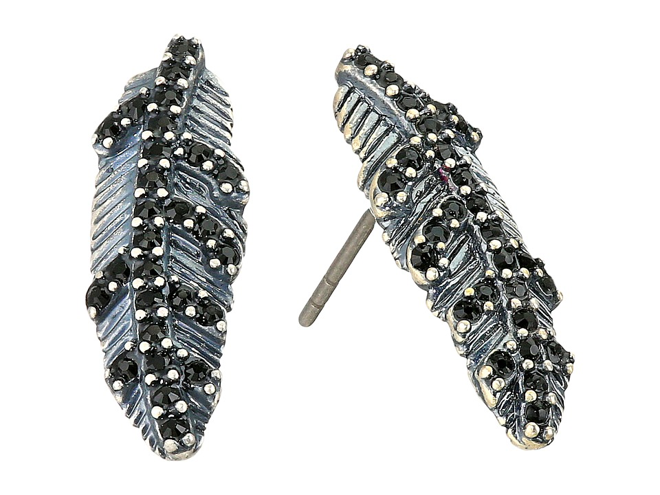 Marc Jacobs - Dark Plumes Studs Earrings (Jet/Antique Silver) Earring
