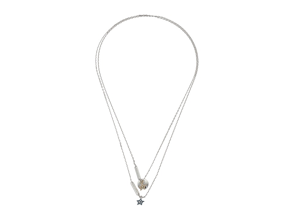 Marc Jacobs - MJ Coin Layered Pendant Necklace (Blue/Silver) Necklace