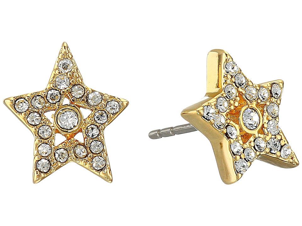 Marc Jacobs - MJ Coin Tiny Star Pave Studs Earrings (Crystal/Gold) Earring