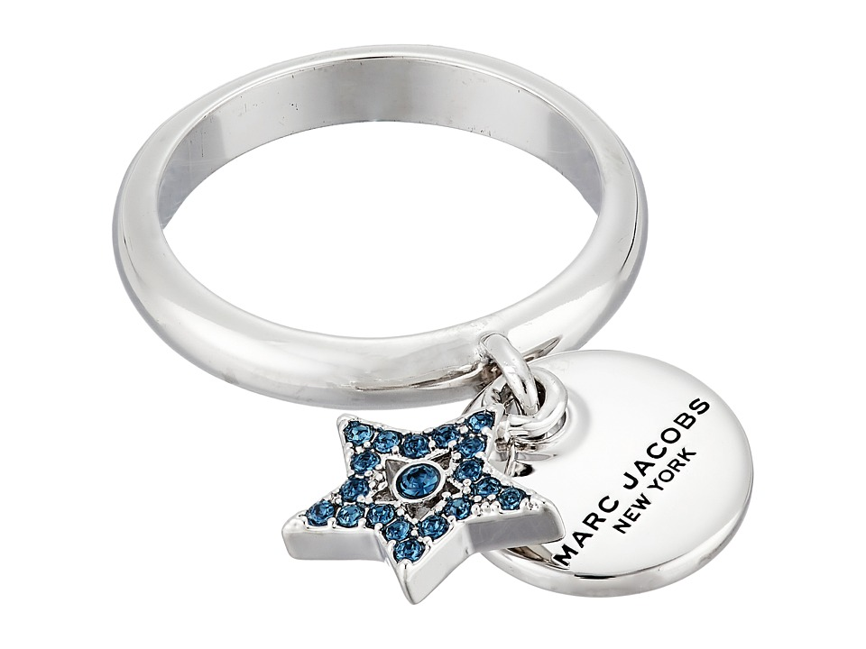 Marc Jacobs - MJ Coin Charm Ring (Blue/Silver) Ring