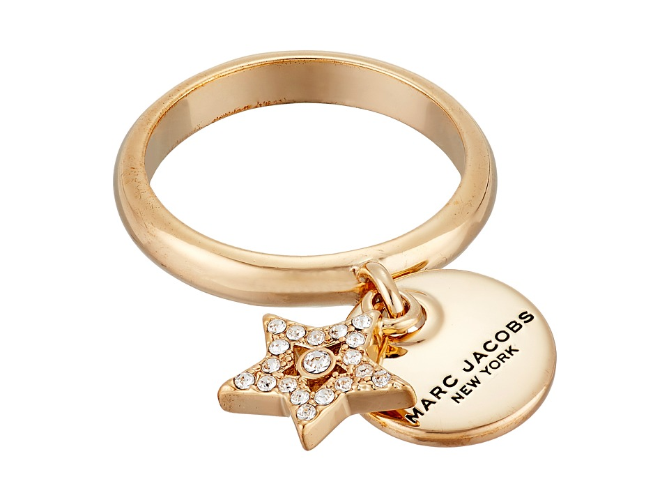 Marc Jacobs - MJ Coin Charm Ring (Crystal/Gold) Ring