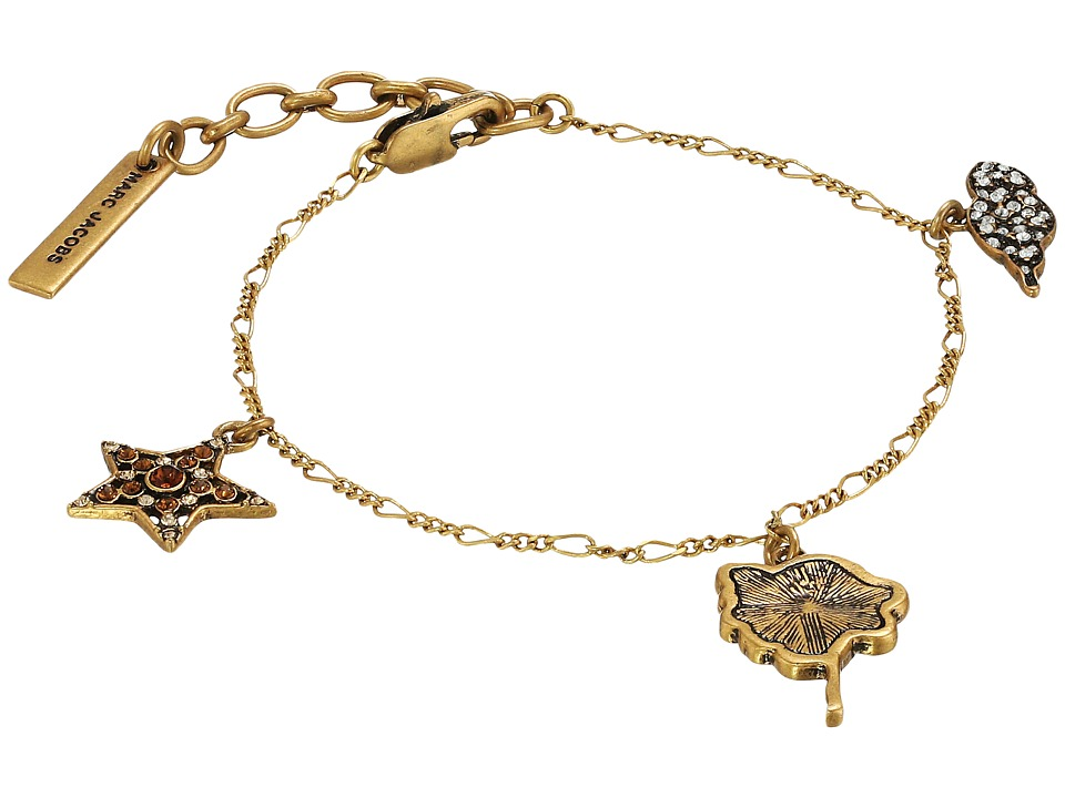 Marc Jacobs - Charms Charm Bracelet (Crystal Multi/Antique Gold) Bracelet