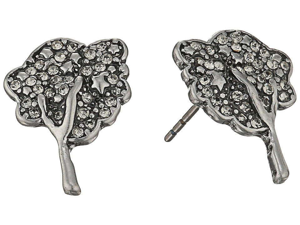 Marc Jacobs - Charms Pave Tree Studs Earrings (Black Diamond/Antique Silver) Earring