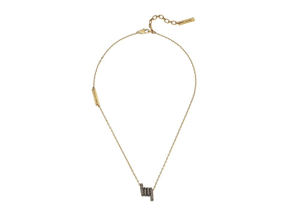 Marc Jacobs - Pave Twisted Short Pendant Necklace (Crystal/Antique Gold) Necklace
