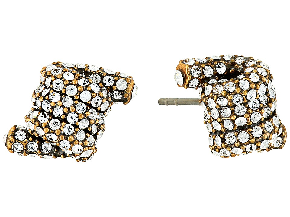 Marc Jacobs - Pave Twisted Studs Earrings (Crystal/Antique Gold) Earring