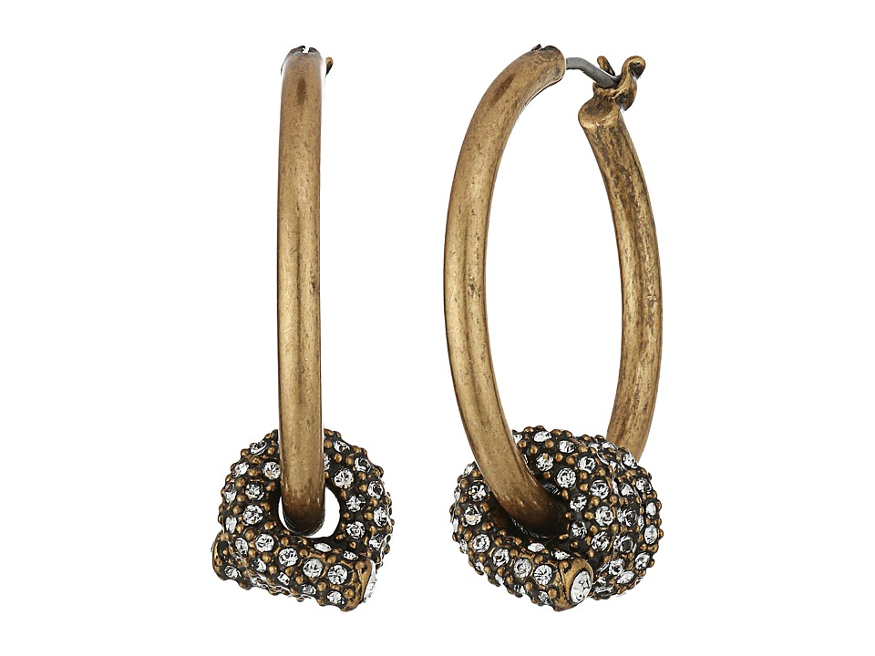 Marc Jacobs - Pave Twisted Wire Earrings (Crystal/Antique Gold) Earring