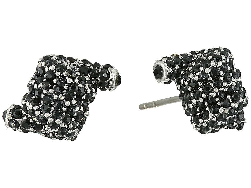 Marc Jacobs - Pave Twisted Studs Earrings (Jet/Antique Silver) Earring