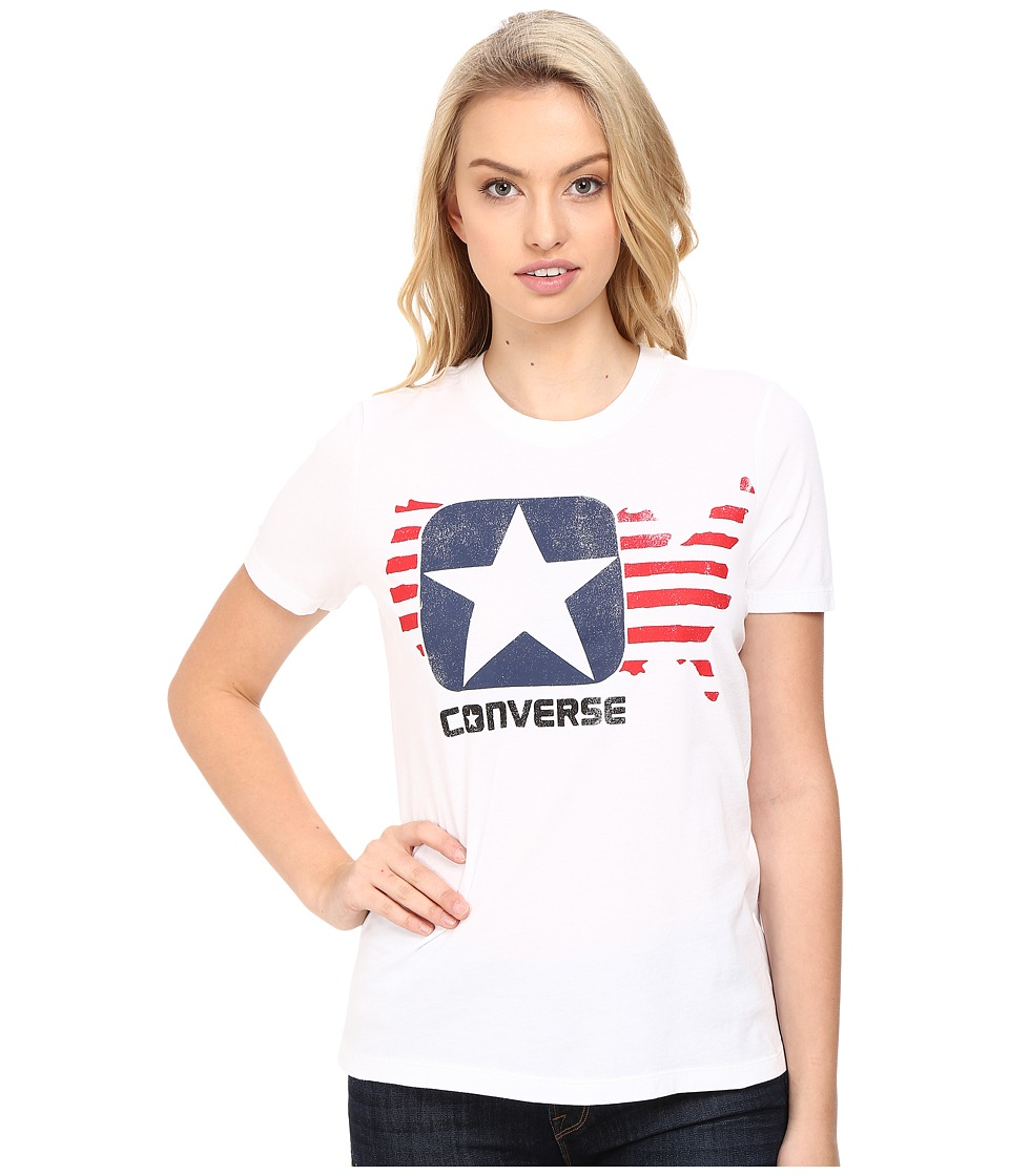 Converse Archive Box Star Crew Short Sleeve Tee (White) Women
