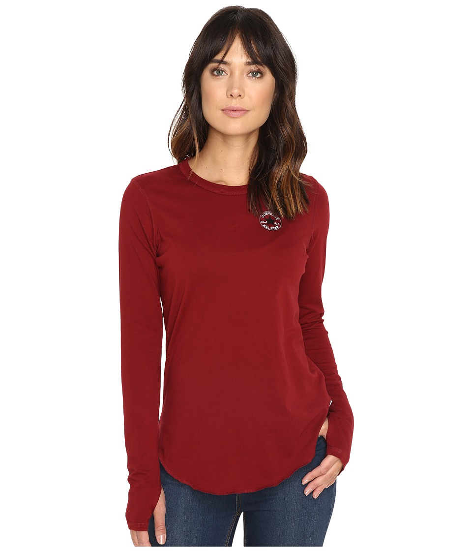 Converse - Left Chest Core Patch Logo Long Sleeve Tee (Red Block) Women's T Shirt