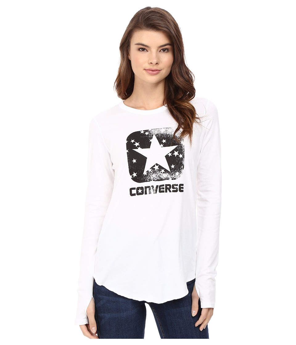 Converse - Star Print Long Sleeve Tee (White) Women's T Shirt