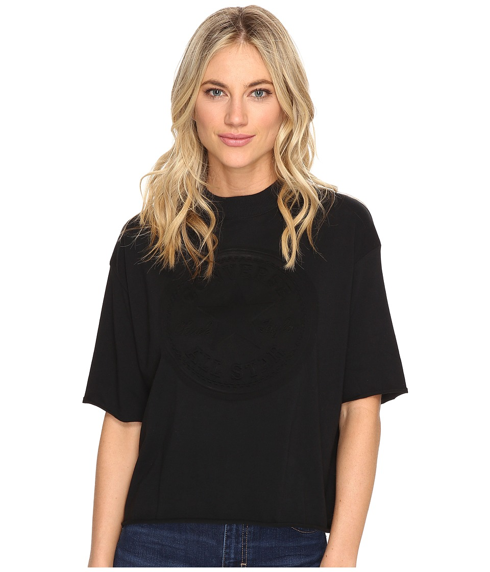 Converse - Embossed Core Patch Short Sleeve Mock Neck Tee (Black) Women's T Shirt