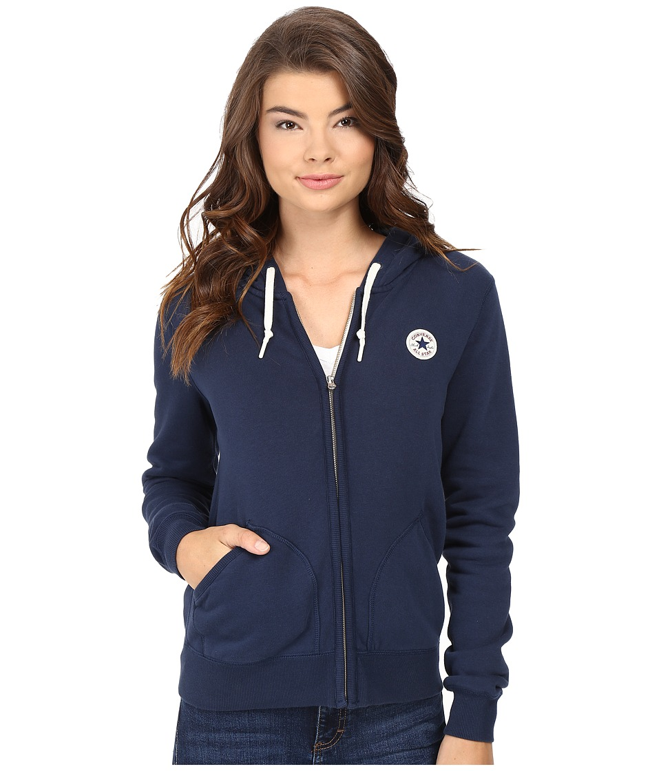 Converse - Core Full Zip Fleece Hoodie (Nighttime Navy) Women's Sweatshirt