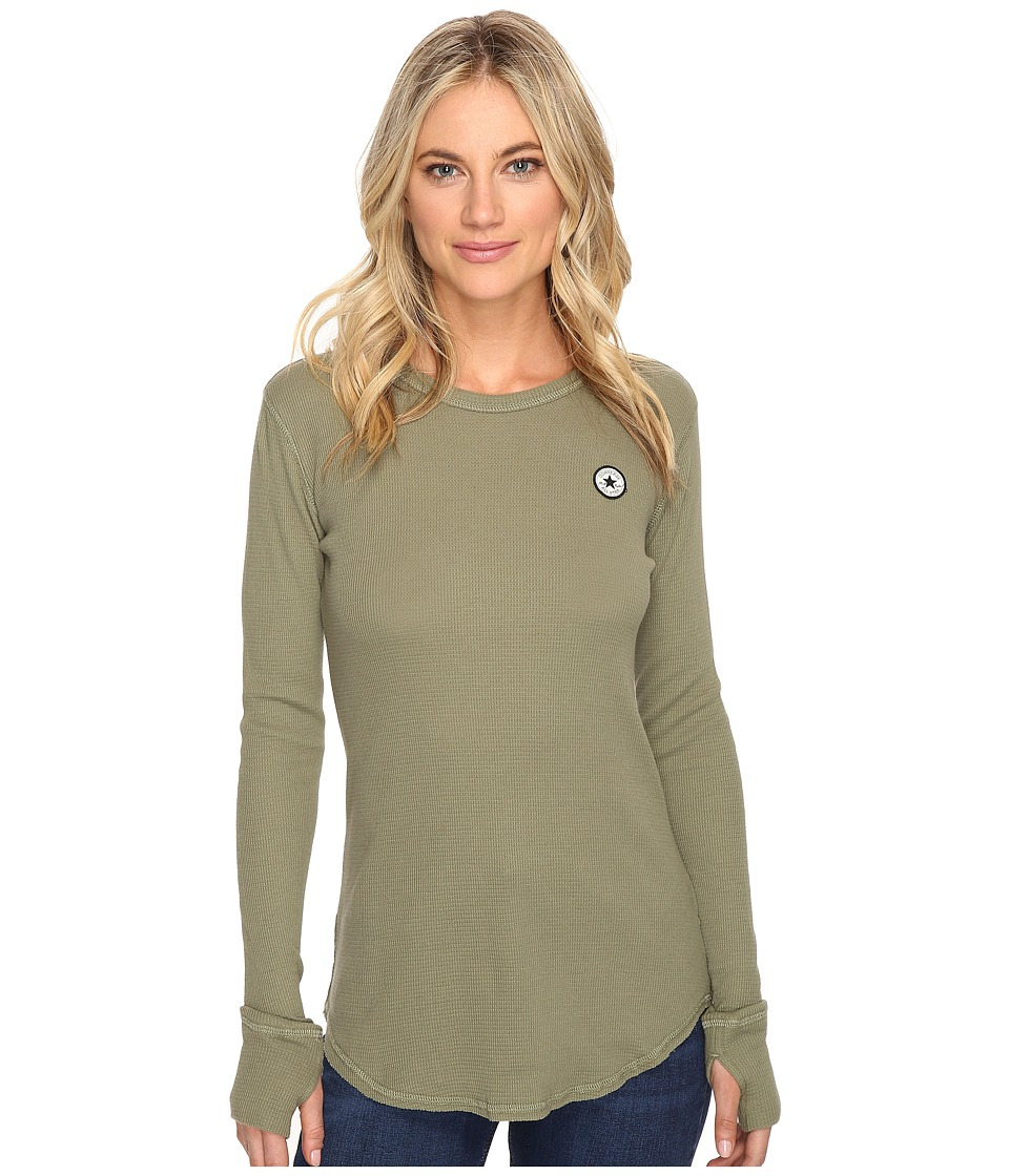 Converse - Thermal Thumbhole Long Sleeve Tee (Fatigue Green) Women's T Shirt