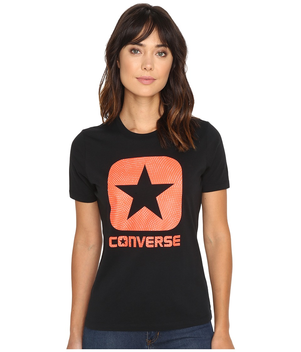 Converse Reflective Fill Box Star Short Sleeve Tee (Black) Women