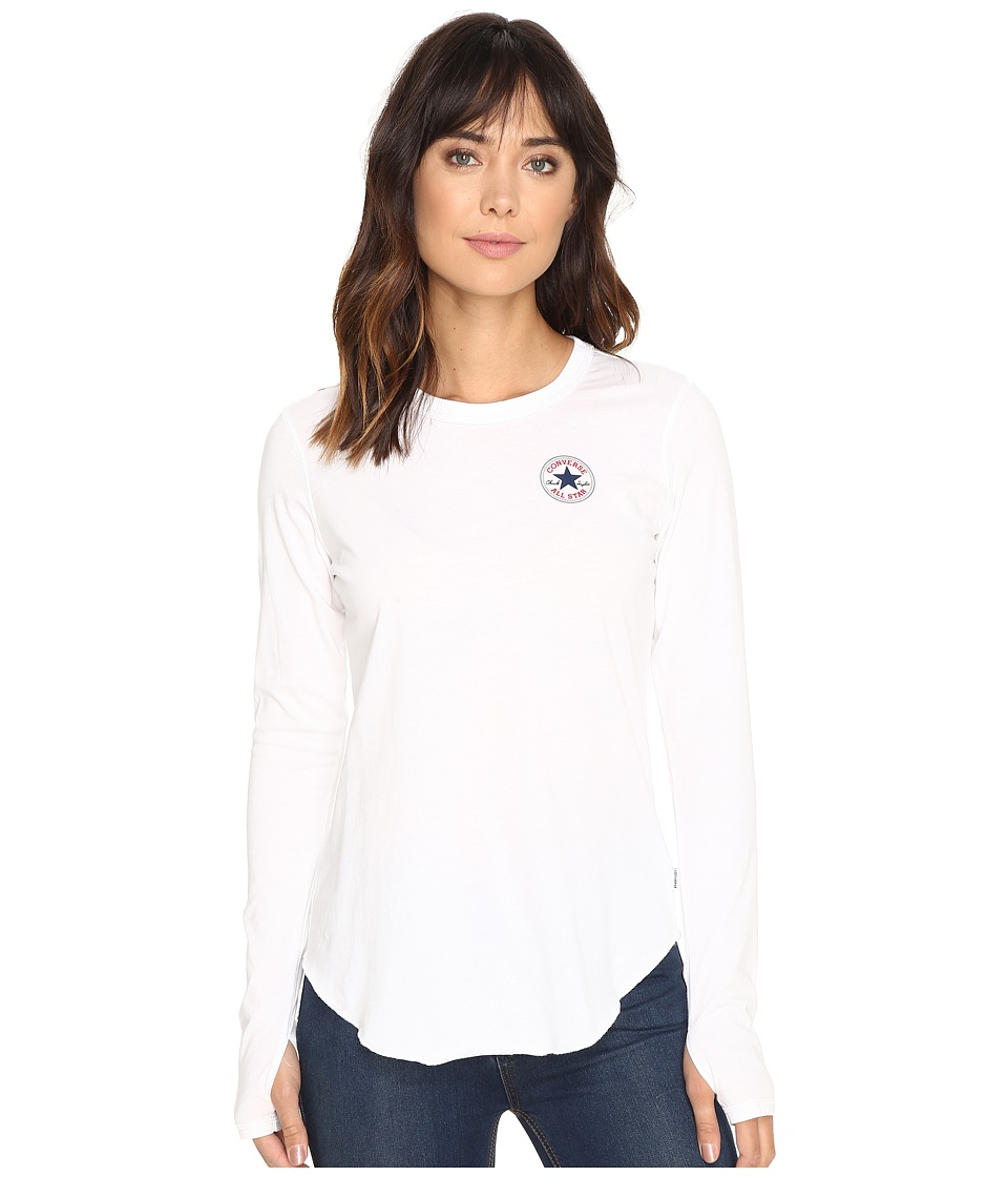 Converse - Left Chest Core Patch Logo Long Sleeve Tee (White) Women's T Shirt