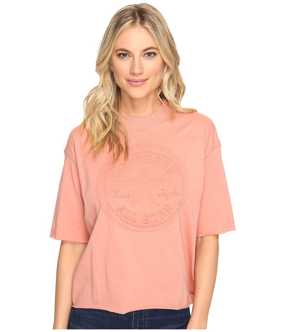 Converse - Embossed Core Patch Short Sleeve Mock Neck Tee (Pink Blush) Women's T Shirt