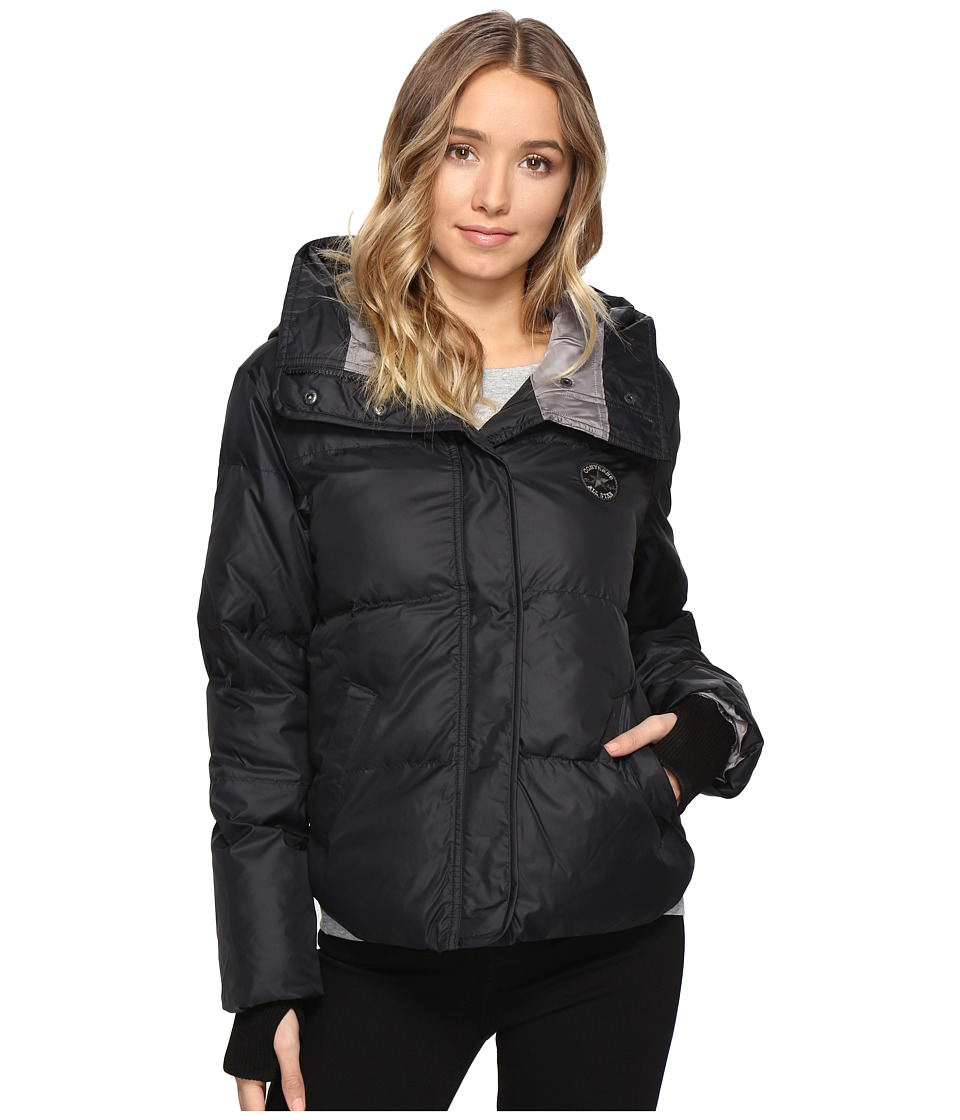 Converse - Core Mid-Length Puffer Jacket (Black) Women's Coat