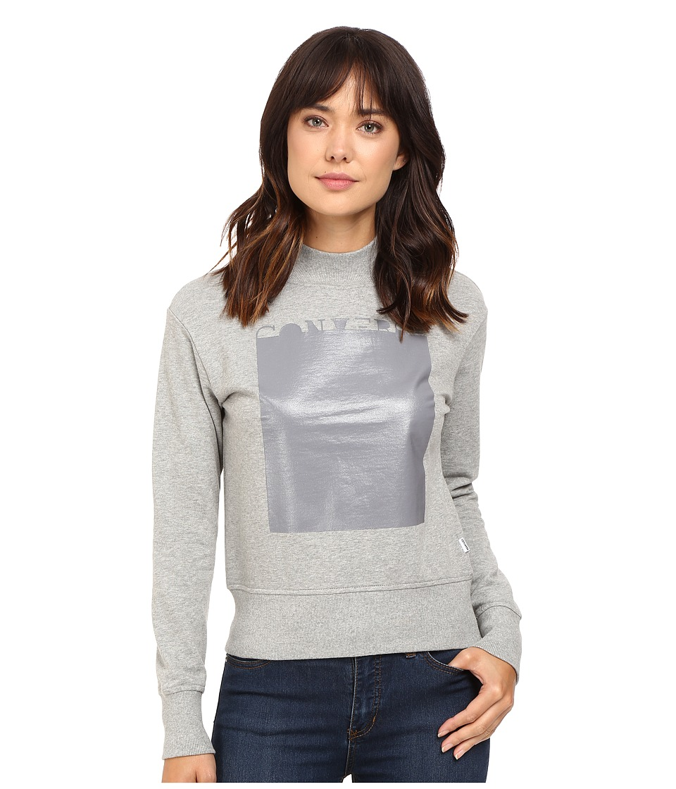 Converse - Rubber Mock Neck Fleece Top (Vintage Grey Heather) Women's Fleece