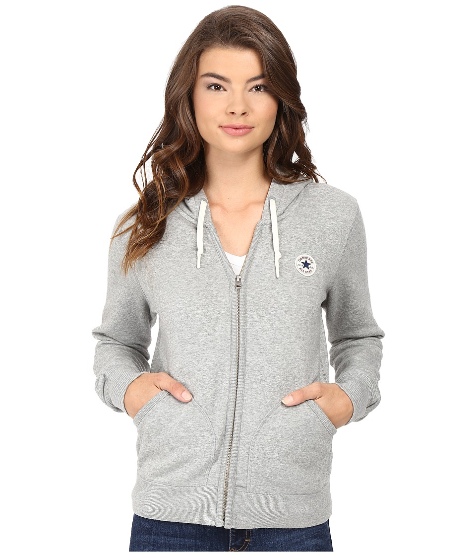 Converse - Core Full Zip Fleece Hoodie (Vintage Grey Heather) Women's Sweatshirt