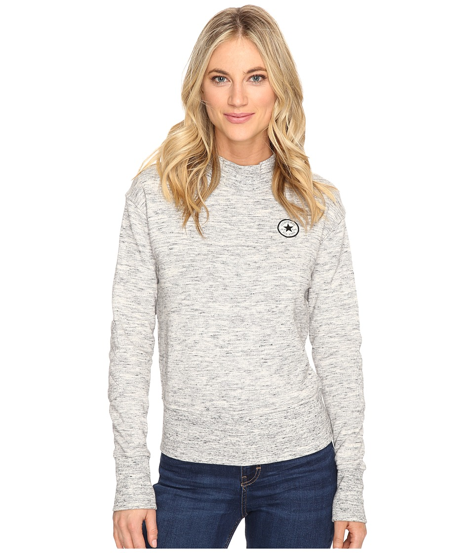 Converse - Quilted Mock Neck Crew Fleece (Snow Heather) Women's Fleece