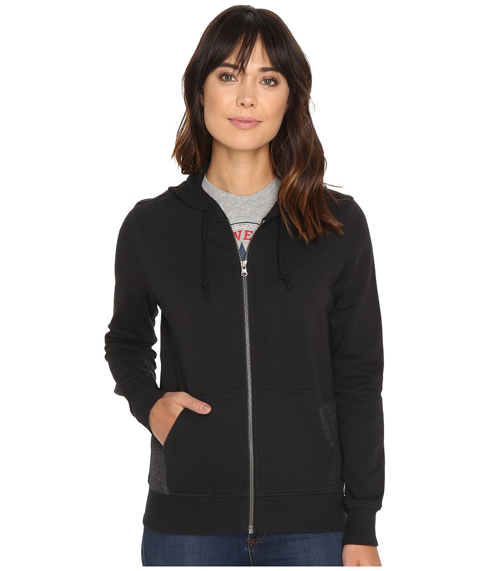 Converse - Metallic Full Zip Hoodie (Black) Women's Sweatshirt