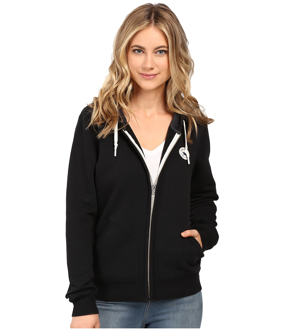 Converse - Core Full Zip Fleece Hoodie (Black) Women's Sweatshirt