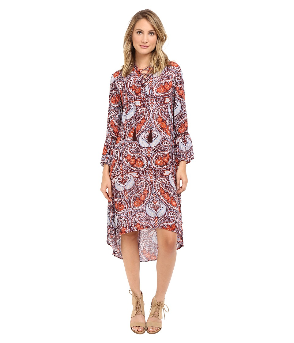 Brigitte Bailey - Else Bell Sleeve Dress with Crossed Tie Detail (Rust) Women's Dress