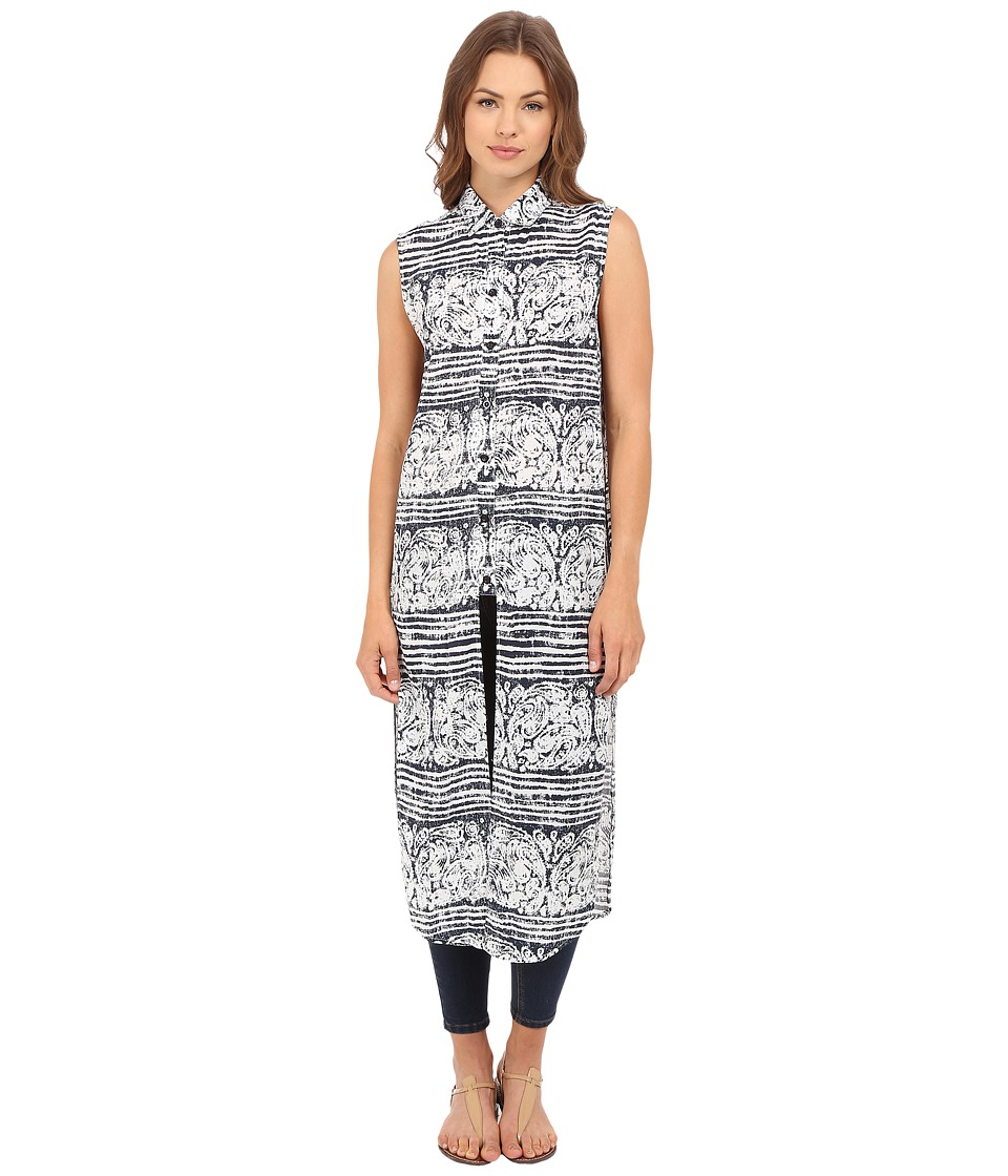 Brigitte Bailey - Paisley Printed Sleeveless Maxi Dress (Navy/White) Women's Sleeveless